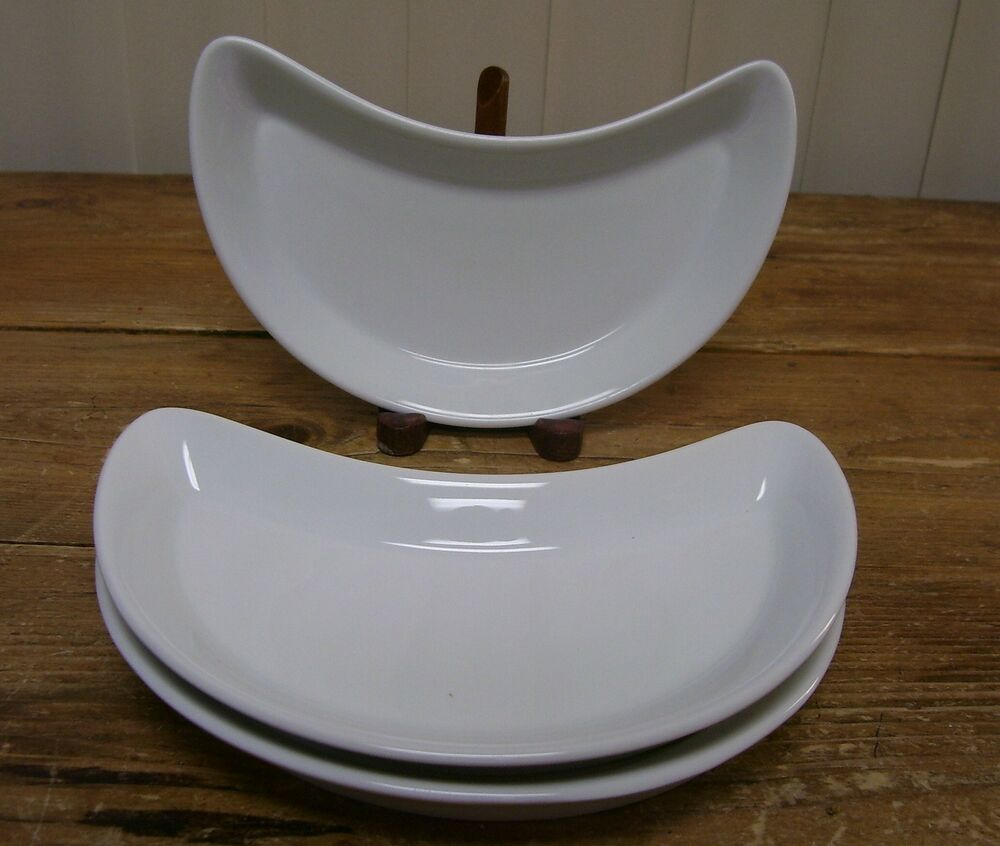 3 culinaire white pillivuyt france crescent salad plate for Culinaire