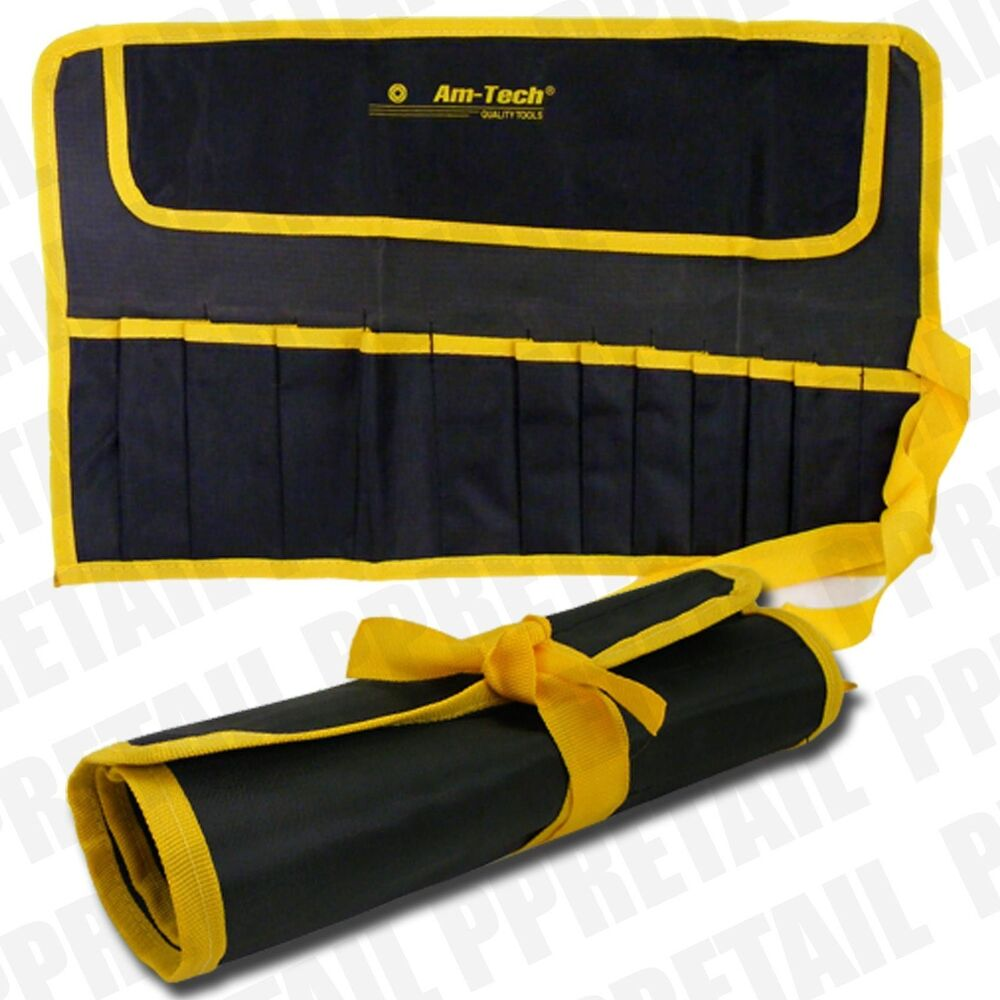 quality tool roll up spanner wrench tool storage bag 12 pocket pouch fast post ebay. Black Bedroom Furniture Sets. Home Design Ideas