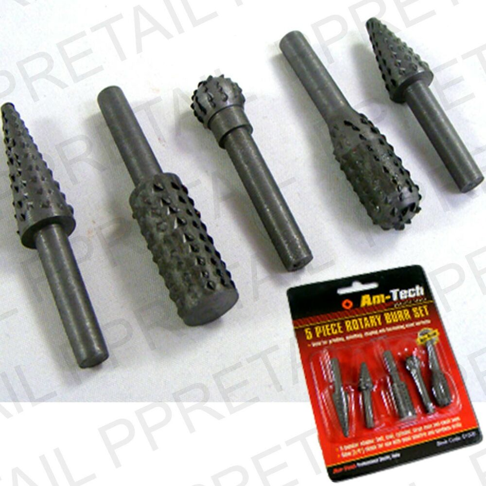 5 Rotary Burr Set Wood Carving File Rasp Power Drill Bits