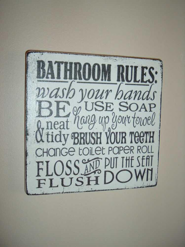 Shabby Vintage Chic Plaque Bathroom Rules Sign Typography