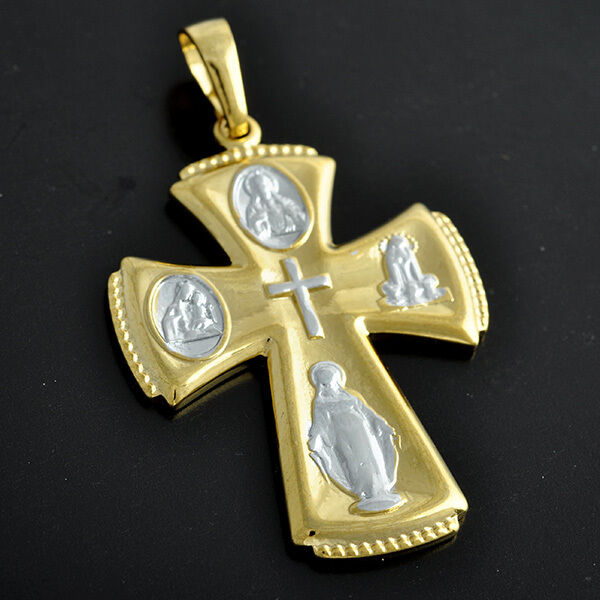 9k solid gold filled 2 tone mens womens cross pendant. Black Bedroom Furniture Sets. Home Design Ideas