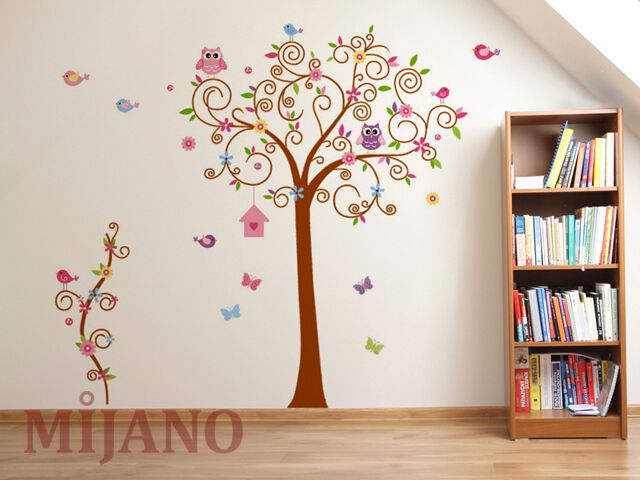 wandtattoo eule baum wandsticker aufkleber kinderzimmer deko cartoon blume v gel ebay. Black Bedroom Furniture Sets. Home Design Ideas