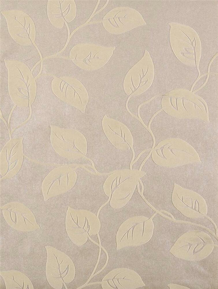 Wallpaper Cream Beige Real Flocked Velvet Leaf Vine Leaves
