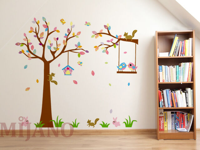 wandtattoo waldtiere wandsticker aufkleber kinderzimmer deko eichh rnchen hase ebay. Black Bedroom Furniture Sets. Home Design Ideas