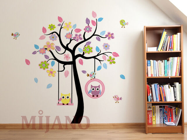 wandtattoo eulen auf schaukel wandsticker wandaufkleber kinderzimmer deko baum ebay. Black Bedroom Furniture Sets. Home Design Ideas