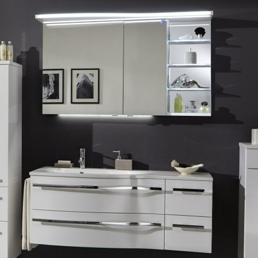 marlin motion badm bel 120 cm mit led spiegelschrank. Black Bedroom Furniture Sets. Home Design Ideas