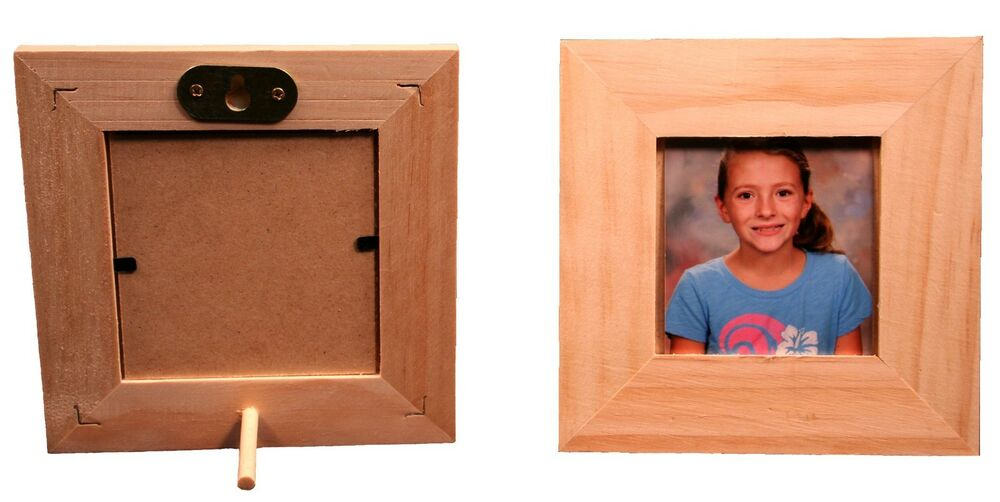 3 x 3 unfinished wood picture frame stand or hang on for Unfinished wood frames for crafts