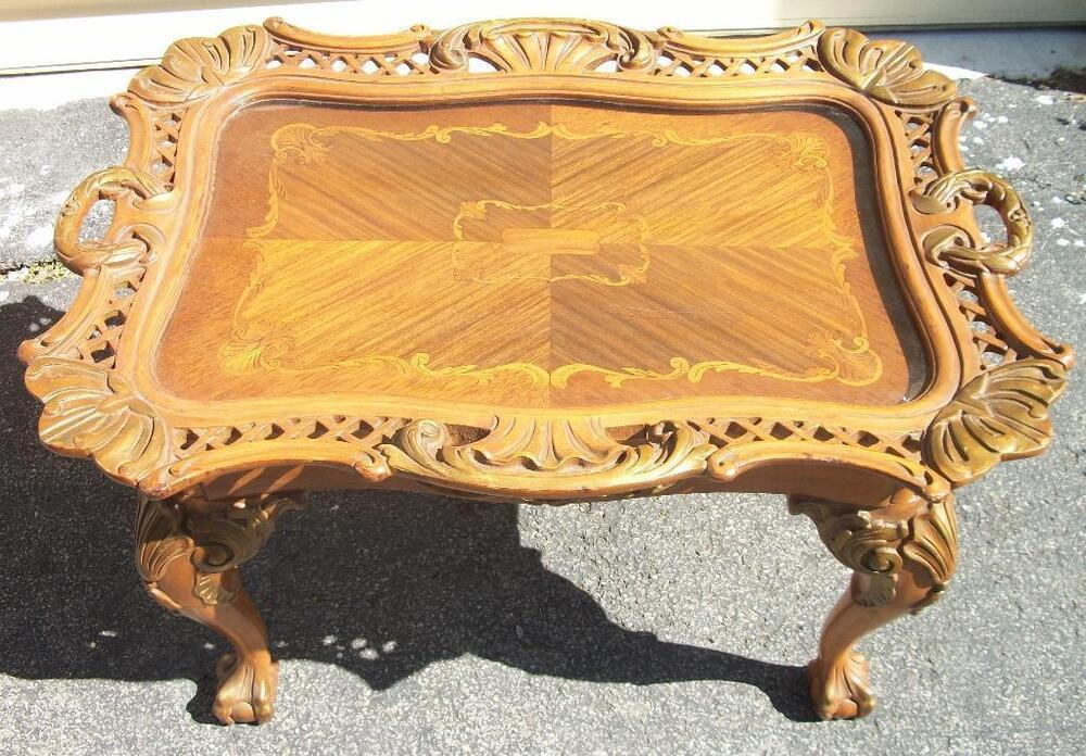 Tea Coffee Table Server With Removable Tray Top Ebay