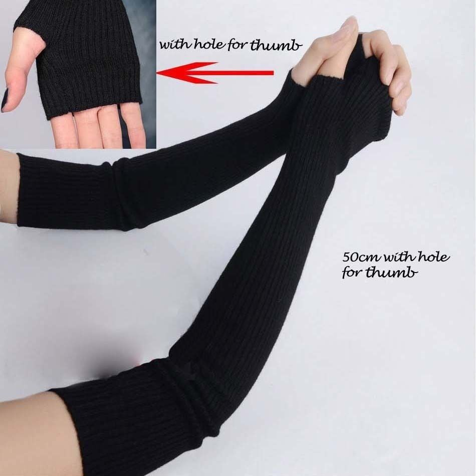 Fingerless gloves canada - Women Stretchy Long Sleeve Fingerless Gloves Cashmere Blend Arm Warmers Sleeves Ebay