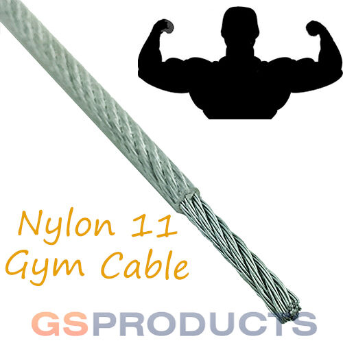 4-6mm CLEAR NYLON Covered Wire Rope 7x19 GYM MACHINE CABLE Price Per ...