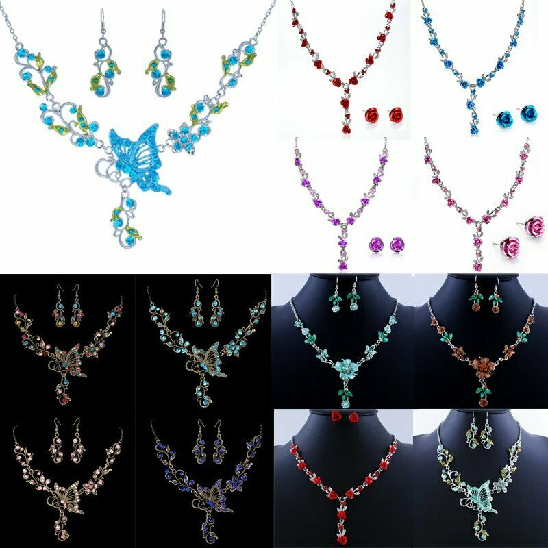 Wedding bridal pretty pink flower crystal necklace for Pink wedding jewelry sets