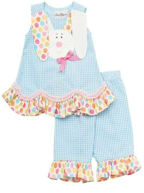 Rare editions girls turquoise easter bunny spring summer capri outfit