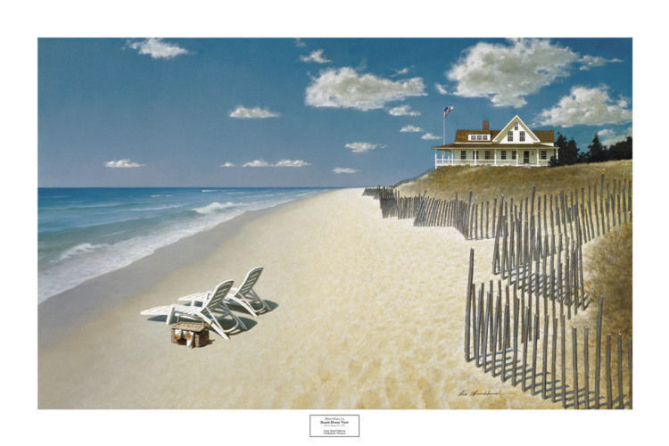 coastal art print beach house view by zhen huan lu 24x36