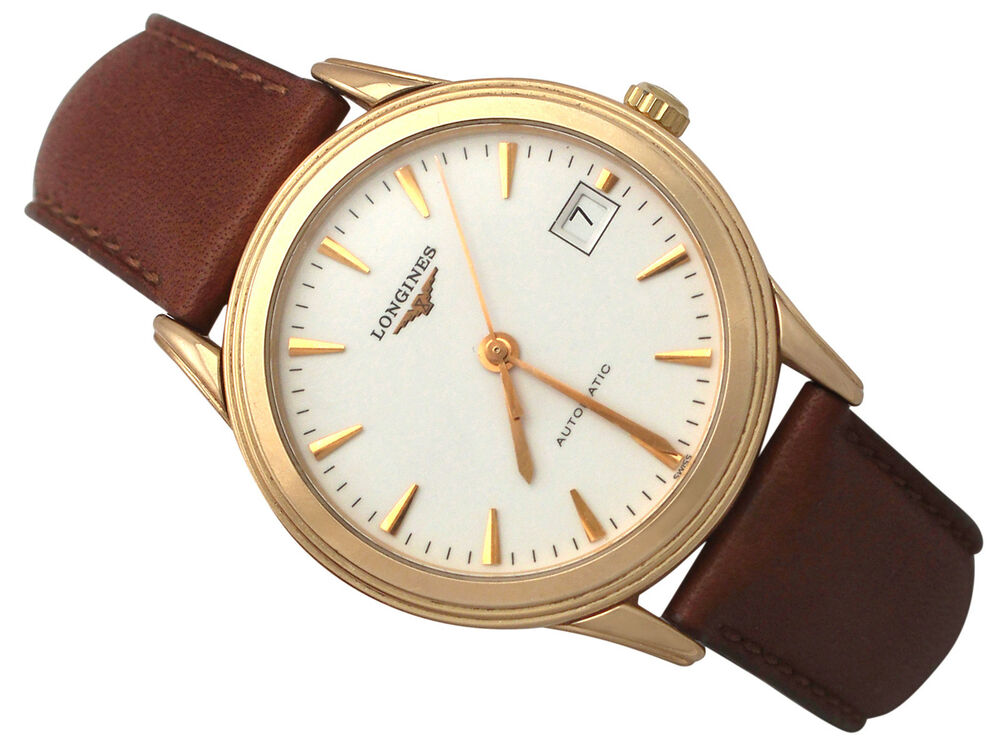 Longines flagship 18ct rose gold gents watch vintage circa 1990 ebay for Vintage gold watch