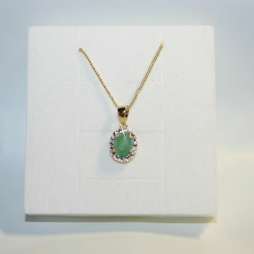 Natural Oval Emerald Real Diamond Pendant Necklace 14k