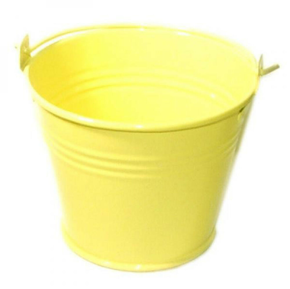 Pack of 10 metal yellow mini favour pails favour buckets for Small pail buckets