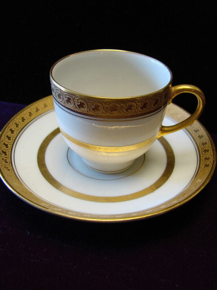 Antique Limoges Cup And Saucer Gold Encrusted Ebay