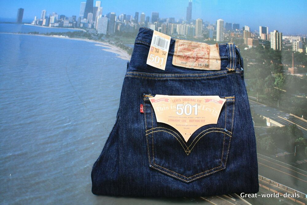 levis 501 rinsed indigo jeans homme coupe droite neuf ebay. Black Bedroom Furniture Sets. Home Design Ideas