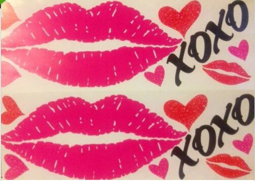 Lips hugs kisses wall stickers 24 decals love heart xoxo for Room decor valentines