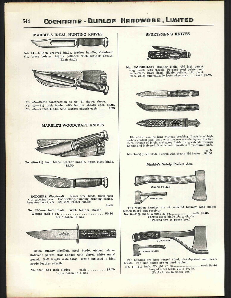 1939 Ad Marble S Ideal Hunting Knife Knives Woodcraft Ixl