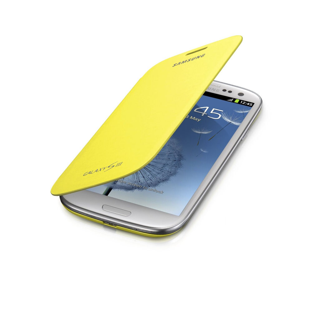 samsung oem flip cover case galaxy s3 siii at t verizon sprint cell phone yellow ebay. Black Bedroom Furniture Sets. Home Design Ideas