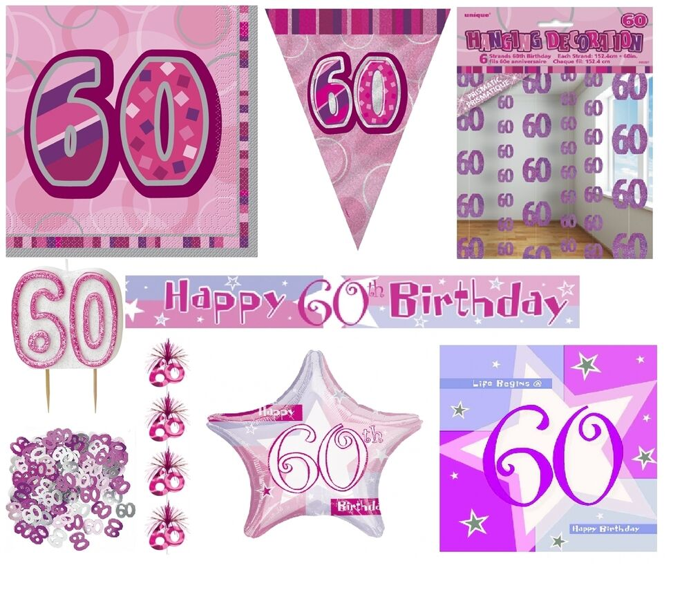 60th birthday age 60 pink girl party items decorations for 60 birthday decoration party