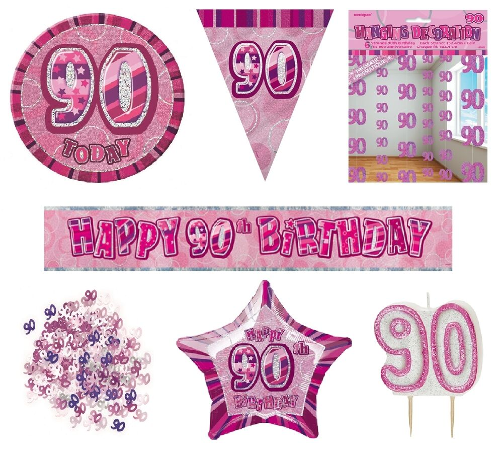 90th BirthdayAge 90 PINKGIRL PARTY ITEMS Decorations