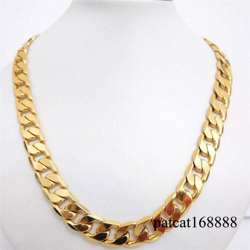 20 24 27 30 12mm 24k yellow gold filled necklace curb. Black Bedroom Furniture Sets. Home Design Ideas