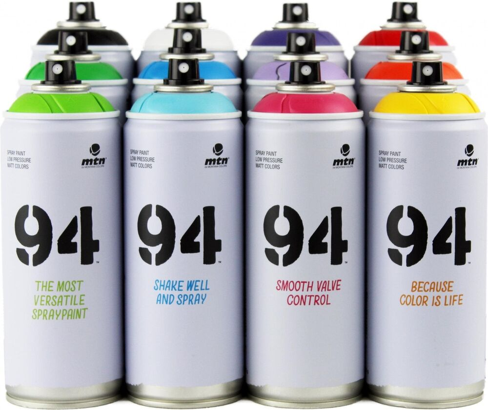 Mtn montana 94 aerosol art spray paint cans 400ml 12 pack ebay Paint with spray can
