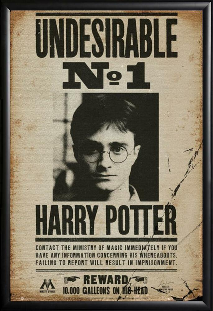Harry Potter Poster Most Wanted In Premium Black Wood