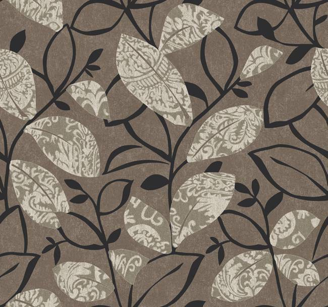 Wallpaper designer modern art deco style gray leaves leaf black vines on taupe ebay - Deco toiletten taupe ...