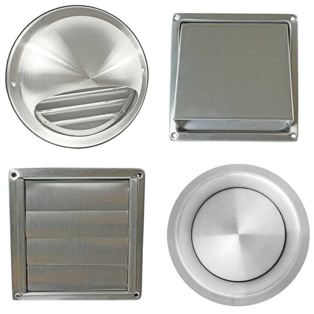 Stainless steel wall air vent metal cover outlet exhaust for Bathroom exhaust fan cover