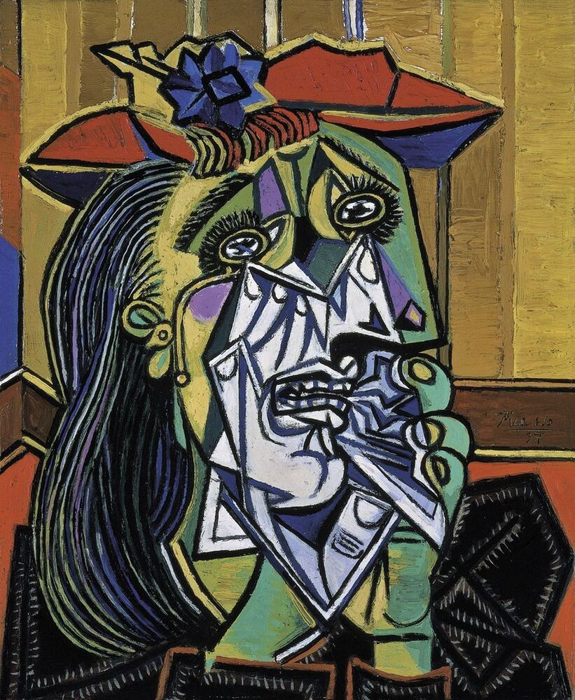 art print weeping woman 1937 by pablo picasso 28x24. Black Bedroom Furniture Sets. Home Design Ideas