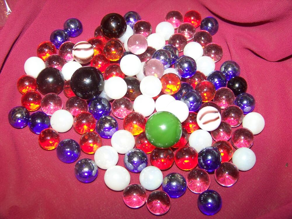 Bulk Colored Marbles : Set of glass player marbles bulk assorted with