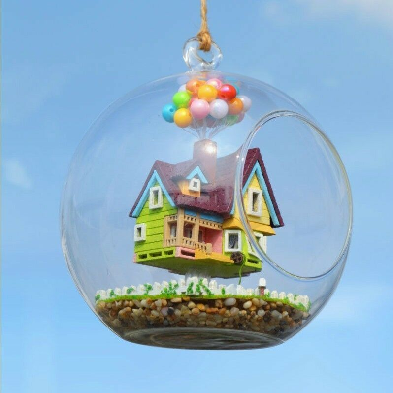 Pixar Disney UP DIY Flying House Glass Ball Miniature ...