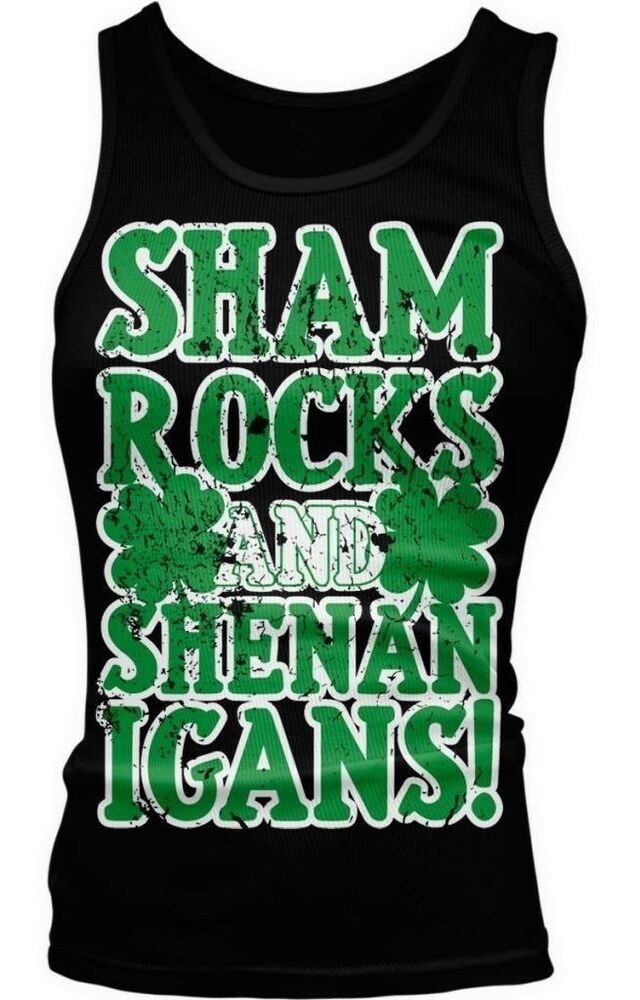c15d12c57ad Details about Shamrocks and Shenanigans St Patricks Day Four Leaf Clovers  Boy Beater Tank Top