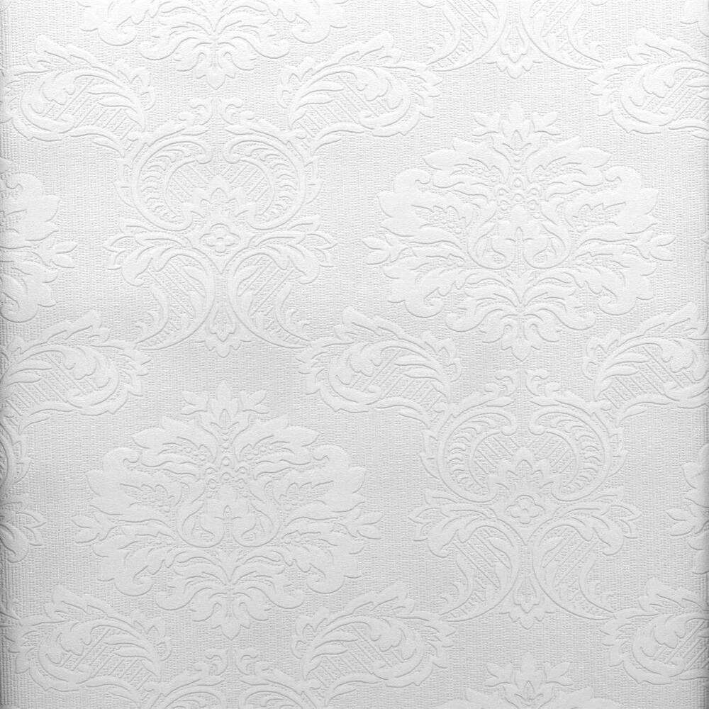 Victorian damask raised white textured paintable wallpaper for Paintable textured wallpaper