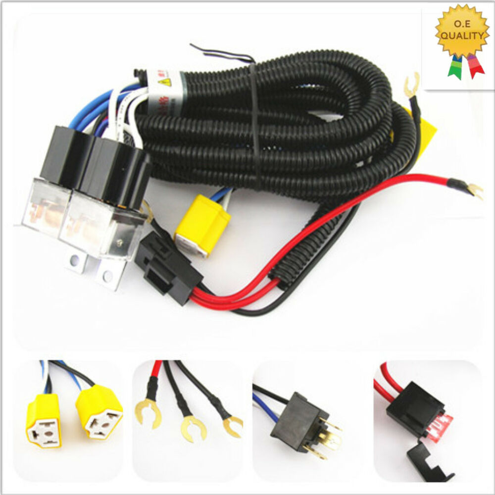 h4 headlight 2 head lamp relay socket plug wiring harness