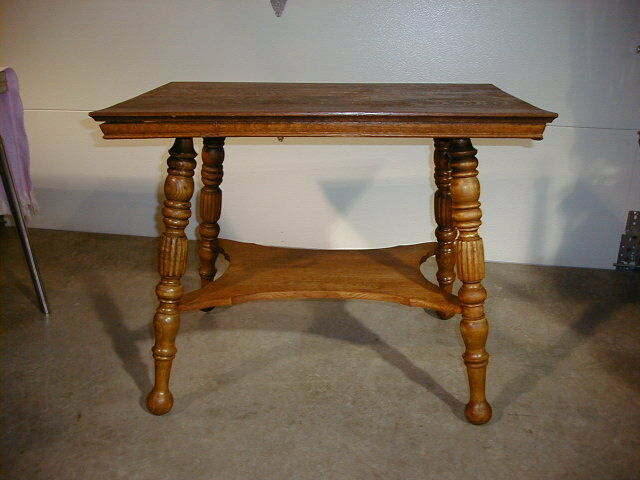 Antique Oak Table W Turned Amp Fluted Legs And Shelf Ebay