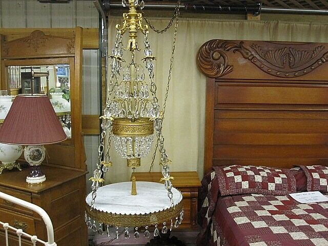 Vintage Hollywood Regency Swag Lamp W Marble Top Table