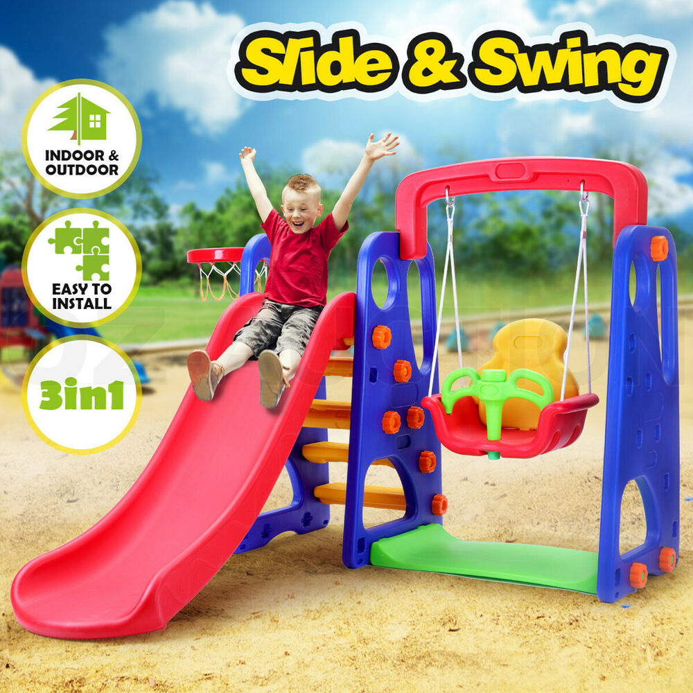 Outdoor Toys For Toddlers And Preschoolers : Kids slide swing basketball ring activity center toddlers