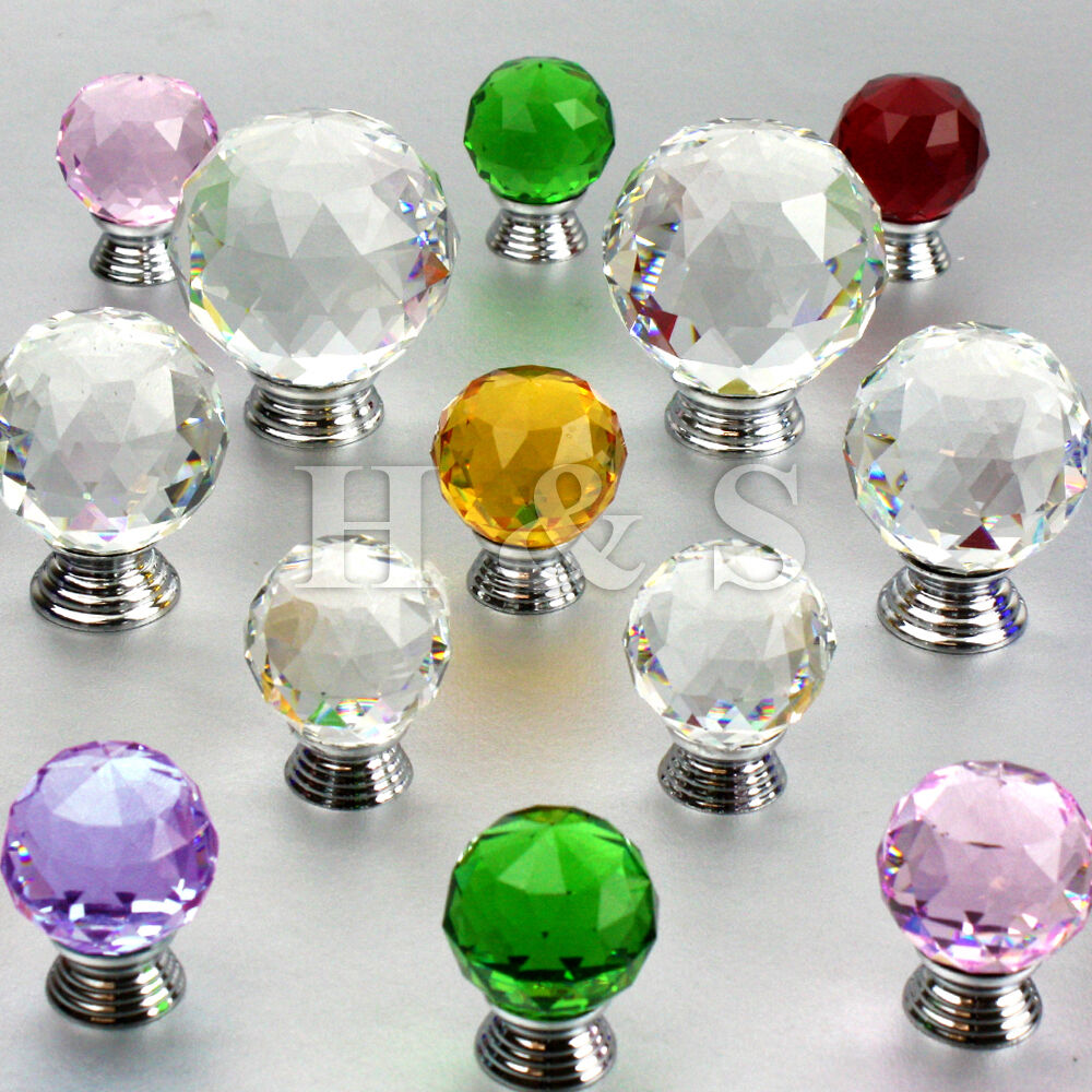 Kitchen Cabinets With Glass Knobs: Crystal Glass Door Knobs Drawer Cabinet Cupboard Furniture