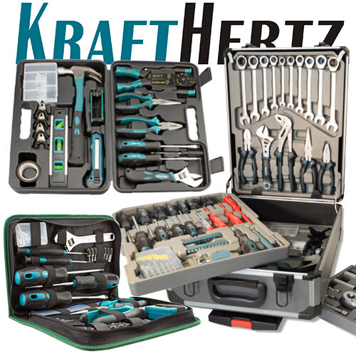 krafthertz werkzeug set tasche werkzeugbox trolley koffer werkzeugkasten tools ebay. Black Bedroom Furniture Sets. Home Design Ideas