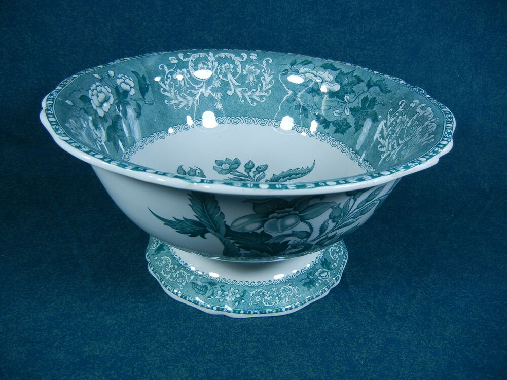 Copeland spode green camilla large footed centerpiece salad punch bowl ebay - Footed bowl centerpiece ...