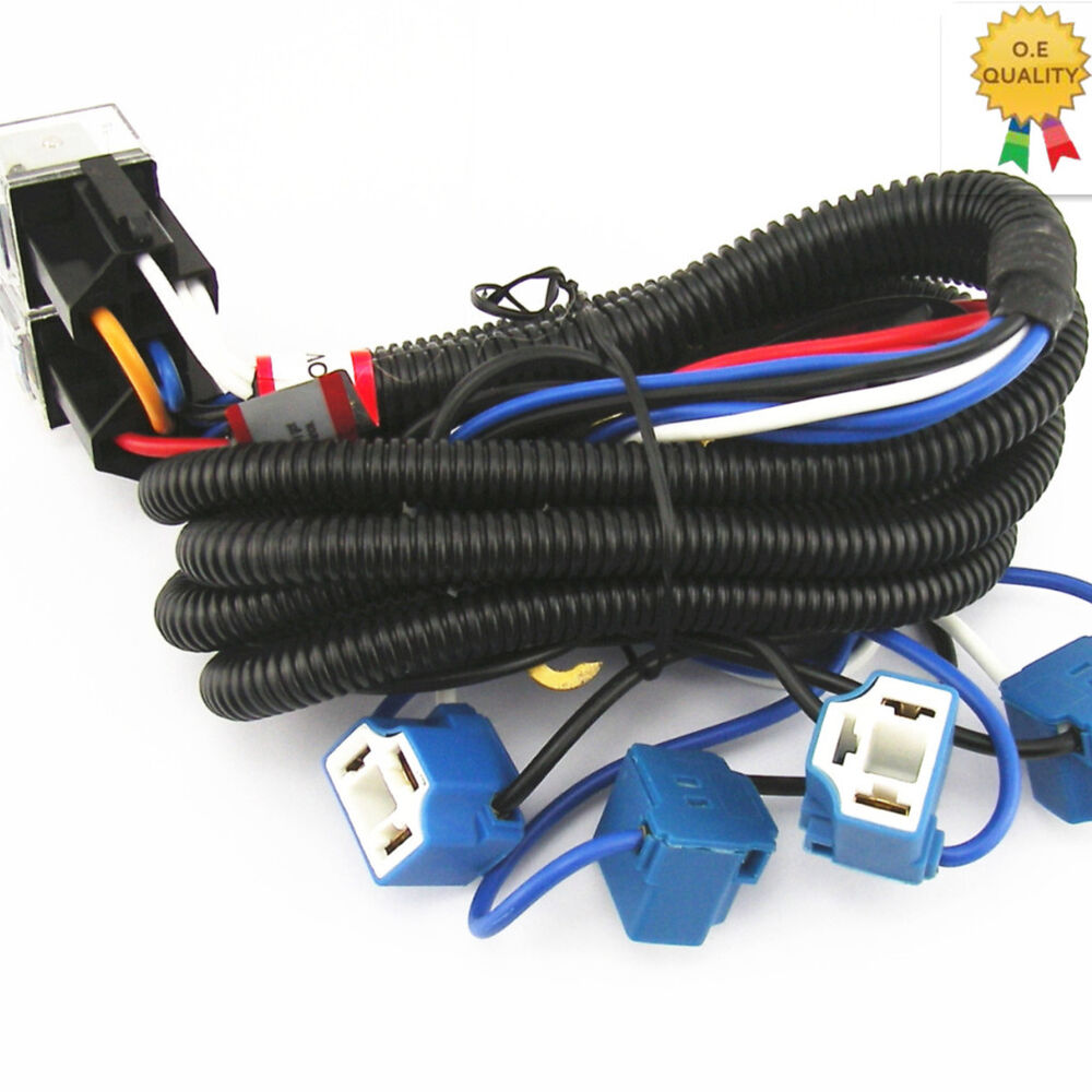 oem ceramic h4 headlight relay wiring harness 4 headlamp. Black Bedroom Furniture Sets. Home Design Ideas