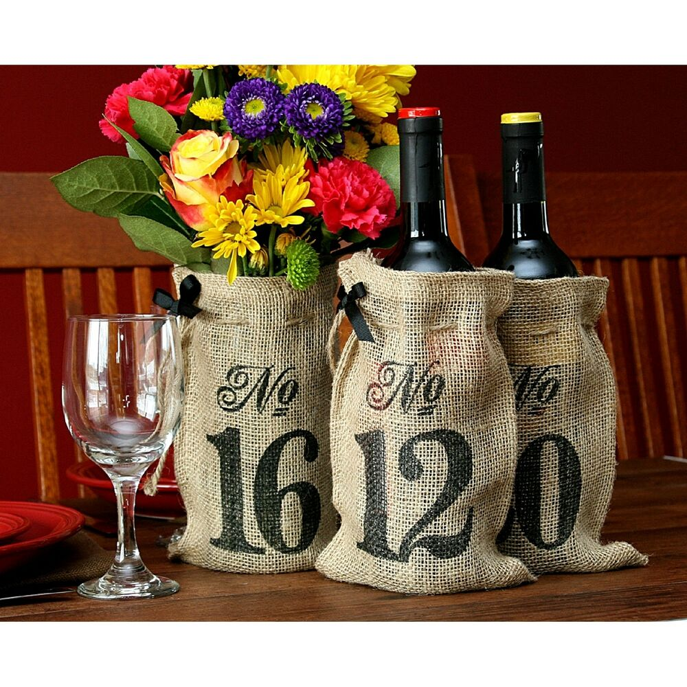 New table numbers 11 20 burlap hessian wedding wine bottle Burlap bag decorating ideas