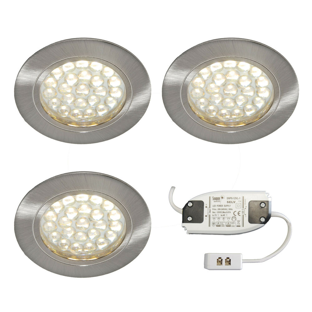 3 X RECESSED ROUND LED LIGHT KIT KITCHEN UNDER CABINET