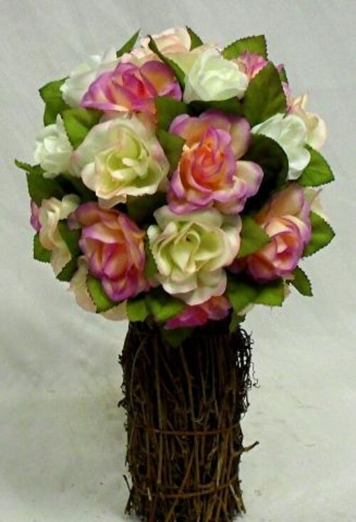Victorian pink rose topiary wedding bouquet silk