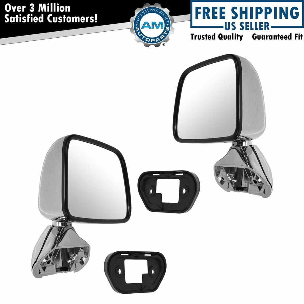 Manual Side View Mirrors Chrome Pair Set For 87 88 Toyota