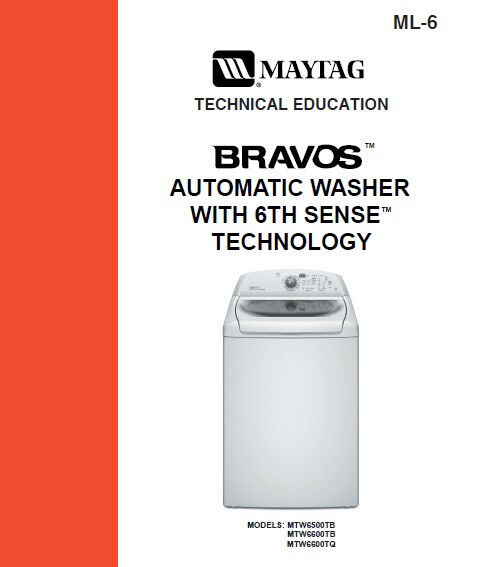 Maytag Bravos Washer 6th Sense Service Repair Manual Ebay